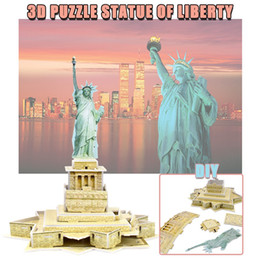 Discount adult world toys - Statue of Liberty Paper 3D Puzzles Toys for Children Adult DIY Handmade Assembling World Famous landscape Model Creative