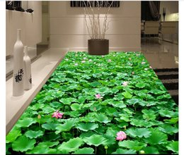 Pond Wall Stickers Australia - customized 3D self-adhesive floor painting wall paper 3D lotus pond pond flowers plant waterproof floor stickers