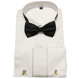 Wholesale tipped shirt for sale - Group buy Men Tuxedo Shirts Wedding Long Sleeve Dress French Cufflinks Swallowtail Plain Front Wing Tip Collar Party Dinner Shirt Bow Tie