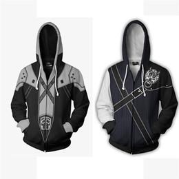 Wholesale men s zip up hoodies for sale – custom Game Cartoon Final Fantasy D Print Hoodies Women Men Printed Hooded Sweatshirts Cosplay Costume Zip Up Coat Streetwear S XL