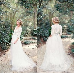 Plunge Wedding Dresses UK - Modest Romantic Lace Wedding Dresses Bohemian with Half Sleeves Plunging Neckline Sexy Wedding Gowns Sweep Train White Tulle Bridal Dress