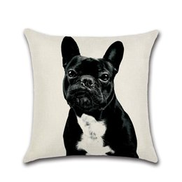 China Printed Cushion Cover 45*45cm Cotton Linen Throw Pillow Case Cute Dog Print Home Decor Sofa Bed Cushion Covers cheap gold bedding linens suppliers