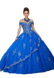 5fa246eeef4 Embroidered Lace Prom Quinceanera Dresses Off The Shoulder Rhinestones  Beads Sequin Two Layers Skirt Ball Gowns Sweet 16 Dress For 15 Years