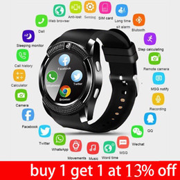 Bluetooth Smart Watch Sim Australia - New V8 Smart Watch Bluetooth Waterproof GSM SIM Phone Watch SmartBand 0.3M Cam For Android iOS With Box