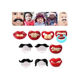 children baby teeth UK - New Highly Security Baby Fun Dummy Prank Pacifier Novelty Teeth Mustache Children Lip Soother Nipple pacifier clip baby toy