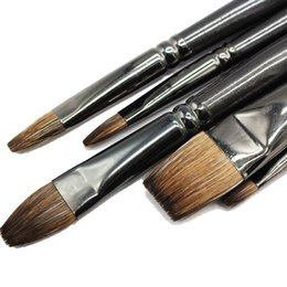 Supplying Hair Wholesale UK - Professional Squirrel Hair Painting Brush Oil Painting Art School Supplies Pen Flat Paint Brush For Gouache Painting Drawing Set T8190617