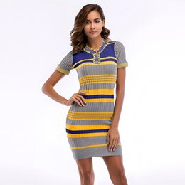 f10441f1c2 2019 nuevos vestidos vintage de punto a rayas color blocking manga corta  flaca vestido ajustado verano de las mujeres bodycon vestidos de moda