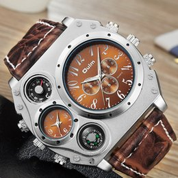 $enCountryForm.capitalKeyWord Australia - Oulm 1349 New Sport Watches Men Super Big Large Dial Male Quartz Clock Decorative Thermometer Compass Luxury Men's Wrist Watch