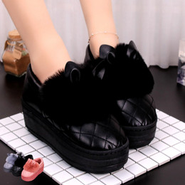 cute warm slippers NZ - Winter woman female shoes cotton Slippers home shoes indoor Non-slip flatform shoes high flat thick cover heel 5.5cm keep warm cute