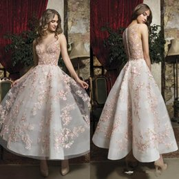 $enCountryForm.capitalKeyWord Australia - Fabulous Pink Floral Prom Dresses Appliqued Sheer Jewel Neck A Line Short Formal Evening Gowns Buttons Back Ankle Length Homecoming Dress