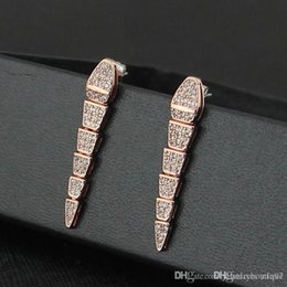 diamond studs sale Australia - Nfn97 2018 Sale on now 316L Titanium steel 0.6*3.8cm snake shape Stud Earrings with diamonds women earring jewlery Free Shipping PS5763