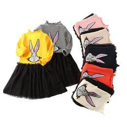 Girls white Gauze dress online shopping - Baby Girls Dress Kids Skirt Printing Dress Princess Dress Round Neck Long Sleeves Gauze Skirt Printing Rabbit