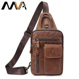 messenger bags for men leather Australia - Mva Men's Genuine Leather Messenger Bag Men Shoulder Bags Male Chest Pack Crossbody Bags For Men Chest Bag Sling Leather 8871 Y19051802