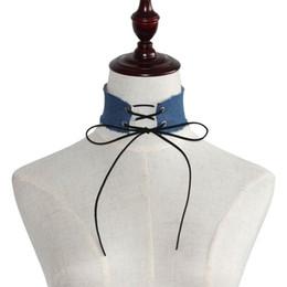 Venta al por mayor de Lace up Bow Denim Gargantilla Collar Collar Collares Torque Tattoo Gargantillas para Mujeres Niñas Maxi Gargantilla Regalo de la Joyería DROP SHIP 161843