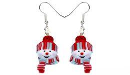 Jewelry teens online shopping - Acrylic Christmas Happy Hat Snowman Earrings Drop Dangle Cartoon Decoration Jewelry For Women Girls Teens Charms Bijoux