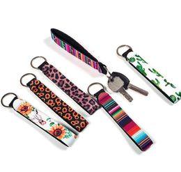 Wholesale colourful prints resale online – Neoprene Wristlet Keychain Colourful Printed Wrist Key Belt Sunflower Strip Leopard Lanyard Key Ring Keychains NEW ring hunger
