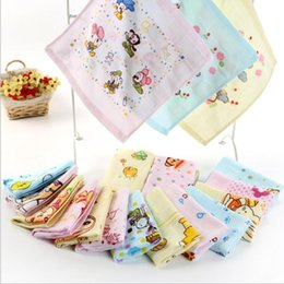 gauze towels NZ - Cotton Gauze Towel INS Baby Bibs Floral Bear Animal Print Square Towel Bandana Infants Saliva Cloth Kids Toddler Cartoon handkerchief TL1293