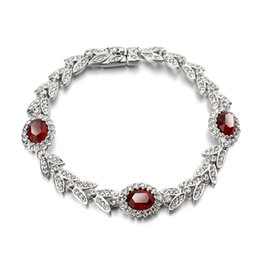 $enCountryForm.capitalKeyWord NZ - Fashion Silver Chain Gold Color Crystal Diamonds Bracelet Bangle Adjustable Simple Bracelets Red Bracelet Woman Wedding Party Jewelry