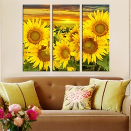 Sunflower Pictures Australia - poster Hot Canvas Printed Sunflower Wall Painting Poster Modular Picture for Living Room Canvas Painting Art Works Unframed 3pcs