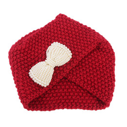 Pile caP online shopping - Women Ladies Bow Winter Knitting Hat Turban Brim Hat Cap Pile Cap