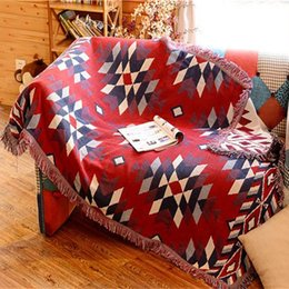 bedding for wedding 2019 - Rhombus Throw Blanket Multifunction Sofa Red White Covers Cobertor Dust Cover Air Conditioning Non-slip Wedding Blankets