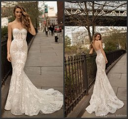 $enCountryForm.capitalKeyWord Australia - 2019 New Berta Full Lace Mermaid Wedding Dresses Sweetheart Neck Illusion Bodice Sweep Train Sexy Open Back Appliqued Bridal Gowns