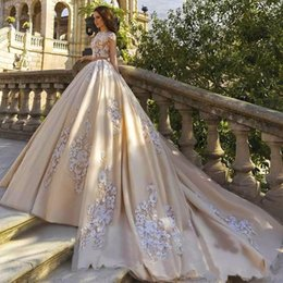 Short Formal Wedding Dress NZ - 2019 New Gorgeous Champagne Wedding Dresses Ball Gown Illusion Short Sleeves Lace Appliques Beaded Court Train Plus Size Formal Bridal Gowns