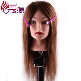 Discount doll heads hair - 16inch Mannequin Head With Hair Training Hairdressing Heads Female Training Dolls With Natural Color Or Brown Color 100%
