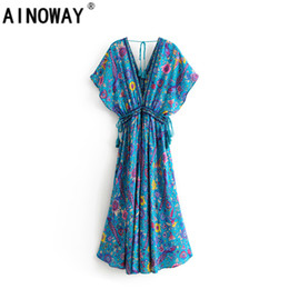 $enCountryForm.capitalKeyWord Australia - Vintage Chic Green Peacock Print V -cut Rayon Beach Long Bohemian Dress Ladies Quaste Lace -up Summer Boho Maxi Dress Y19071101