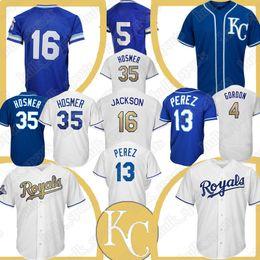 fc7307adf Kansas 16 Bo Jackson City Royals jersey 13 Salvador Perez 5 George Brett jerseys  35 Eric Hosmer 4 Alex Gordon Baseball Jerseys