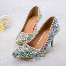 Colorful Dress Shoes Australia - 2019 Crystal Shoes Colorful Rhinestone Wedding Party Dress Glittering Bling Ponited Toe 8cm High Heels Special Beautiful Shoes