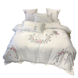 washing silk pillowcases Australia - Fashion embroidered bedding set Pure washed silk double-sided pattern Simplicity Bed sheet, quilt cover pillowcase 4pcs