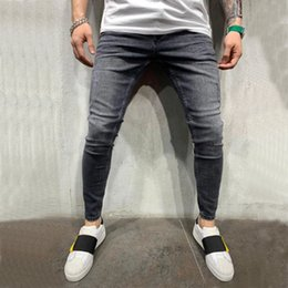 pleated pants for men Canada - New Mens Jean Pencil Pants Fashion Men Casual Slim Fit Straight Stretch Feet Skinny Zipper Jeans For Male Hot Sell Trousers T200410