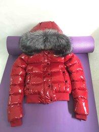 Venta al por mayor de Mujeres chaqueta de invierno para mujer cuello de piel de zorro real pato abajo dentro de la capa caliente femme con toda la etiqueta y etiqueta 16