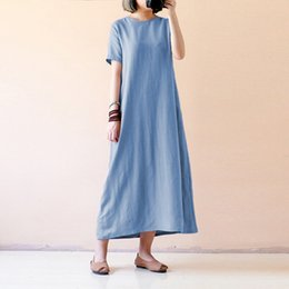 beach maxi dresses short sleeves Australia - Woman Clothes Womens Dress Vintage Linen Dress 2019 Summer Shirt Dress Short Sleeve Solid Casual Loose Beach Maxi Long Vestidos Hot Sale