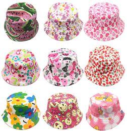 Chinese  Cartoon Baby Bucket Hat Cute Fruit Flower Print Kids Sun Hat Creative Child Canvas Wide Brim Outdoor Beach Cap TTA835 manufacturers
