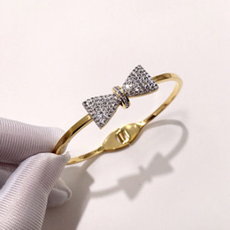 $enCountryForm.capitalKeyWord NZ - Fashion Design Rhinestone Bracelet High Quality Luxury Bow Tie Bangles Women Rose Silver Gold Hip-hop Rigid Bracelets Party Gifts