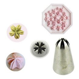 Flowers For Cake Decoration Australia - Wholesale- 1PC Lot Big Size 2F Stainless Steel Icing Piping Nozzles For Cake Decoration Flower Sakura Cherry Blossoms Icing Piping Nozzles