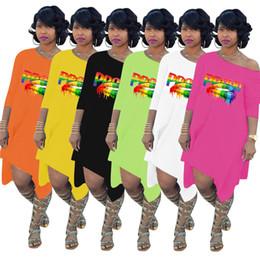$enCountryForm.capitalKeyWord NZ - Women Oblique Shoulder Irregular Dresses Proud Letters Rainbow Lips Print Loose Swing Dress Casual Club Fashion Sexy Dress Skirts New C72308