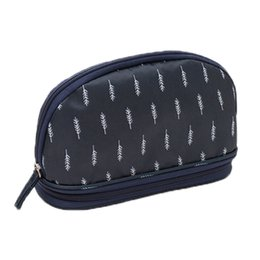 double layer cosmetic bags Australia - Portable Cosmetic Bag Double Layer Travel Makeup Pouch Bags Circular Woman Make Up Bag Navy Feather