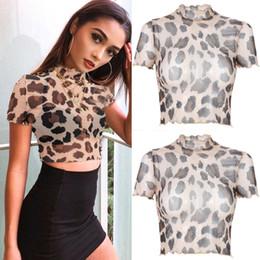 $enCountryForm.capitalKeyWord NZ - Fashion Women Short Sleeve Top See-through Crop Top Blouse Short Leopard NEW Bikini Cover Up Summer Beach Clothes 2019