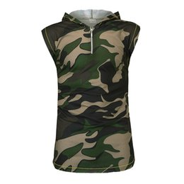 Discount camouflage print blouse - Polyester blouse Men Camouflage vest jacket Lightweight Print Patchwork Regular Clothing Sleeveless casual Contrast Hood