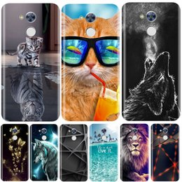 cute silicone cases Canada - Phone Case For Huawei Honor 5C 5X 4C 4X Soft Silicone TPU Cute Cat Painted Back Cover For Huawei Honor 6A 6X 6C Pro Case