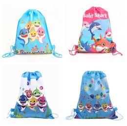Kids Backpacks Woven Australia - Kids Baby Shark Backpacks Designer Drawstring Bags Surprise Girls Unicorn Avenger Theme Cartoon Non-woven Bundle Pocket Party Gifts A61302