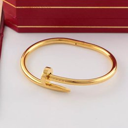 New braNd Name bag online shopping - 100 New L Titanium steel brand name nail punk lovers women and man bangle with dust bag