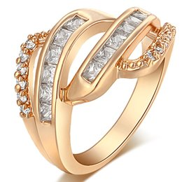 Wholesale Gold Color Twist Classical Cubic Zirconia Wedding Engagement Ring for Woman Girls Austrian Crystals Gift Rings Bague Femme Whole