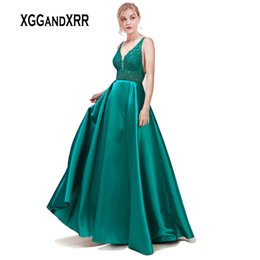 $enCountryForm.capitalKeyWord UK - Elegant Turquoise Long Prom Dresses 2019 V Neck Beaded Sequined Appliques Green Formal Party Dress with Hand Beaded Lace Belt
