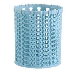 $enCountryForm.capitalKeyWord UK - Pen Holder Container Multi-functional Rattan Weaving Hollow Out Round Pen Container Pot Container Solid Pencil Holder Organizer