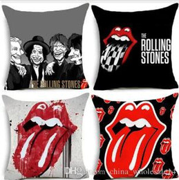 Pop Chair Australia - Pop Bandas De Rock Pattern Cushion Cover Modern Decorative Cushion Covers for Chair Rolling Stones Cushion Cover with Zip Free Shipping
