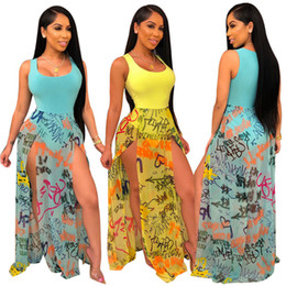 Sheer Maxi Summer Dresses Australia - Women Split Maxi Dresses Print Sexy Sheer Long Beach Dress Sleeveless Scoop Neck Panelled Dress Summer Clotheing Swimwear 667